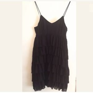 Club Monaco black silk tiered ruffle dress